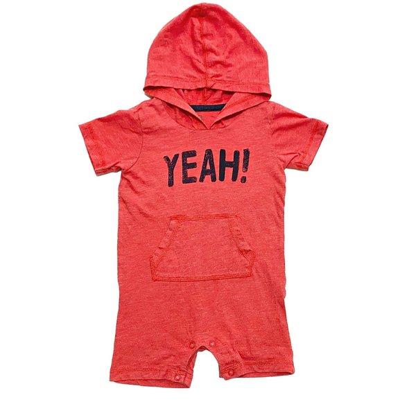 Hooded 'YEAH!' Red Romper